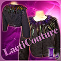 Veste prune encolure plume