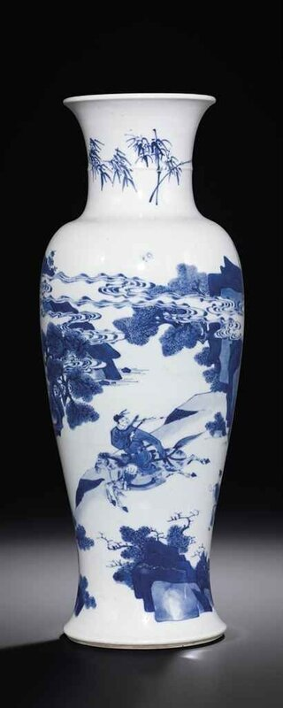 A_blue_and_white__narrative__baluster_vase__Kangxi_period__1662_1722_