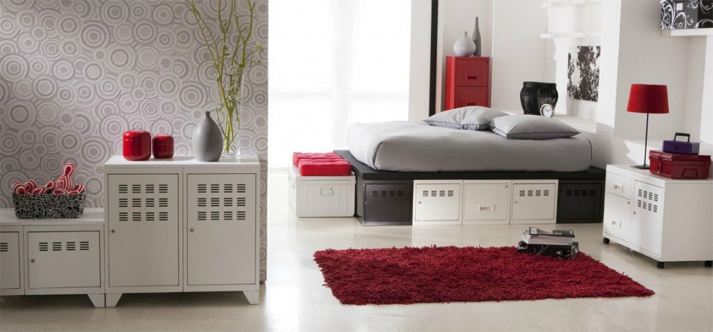 So d co for Chambre blanc gris et rouge
