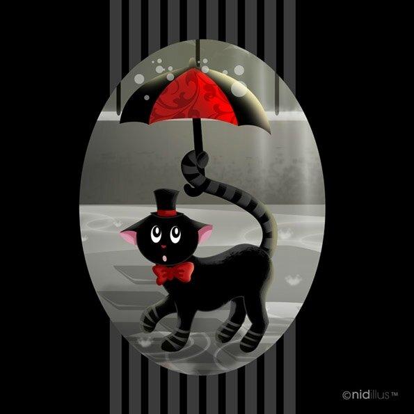 tissu nidillus chat noir au parapluie72