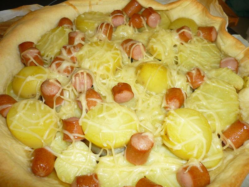 Souvent Tarte aux saucisses de strasboug - pomme de terre et sa compotée d  BG26