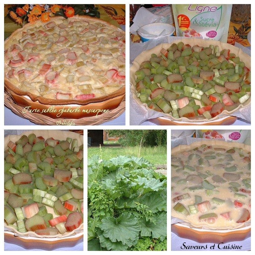 Tarte sablée à la rhubarbe et mascarpone