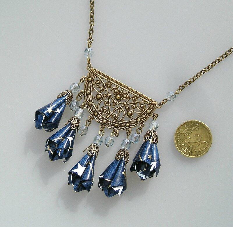 Collier Plastron BYZANCE bleu V4