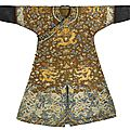 A chestnut embroidered gauze 'dragon' robe, jiaqing period