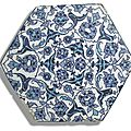 An iznik blue and turquoise hexagonal tile, turkey, circa 1525