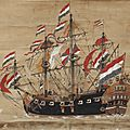 A japanese scroll painting of a dutch ship, late 18th century