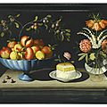 bernardo polo (active zaragoza circa 1650 - circa 1675), still life with a blue bowl of pomegranates and peaches, a plate of wh