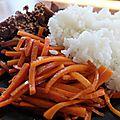Kimpira, carottes glacées