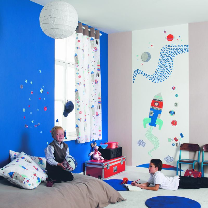 Rideau motif fus es chambre de gar on happy photo de happy world couturi re nord pas de calais - Rideau chambre garcon ...