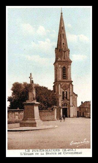 Le Pin-en-Mauges église et statue Cathelineau