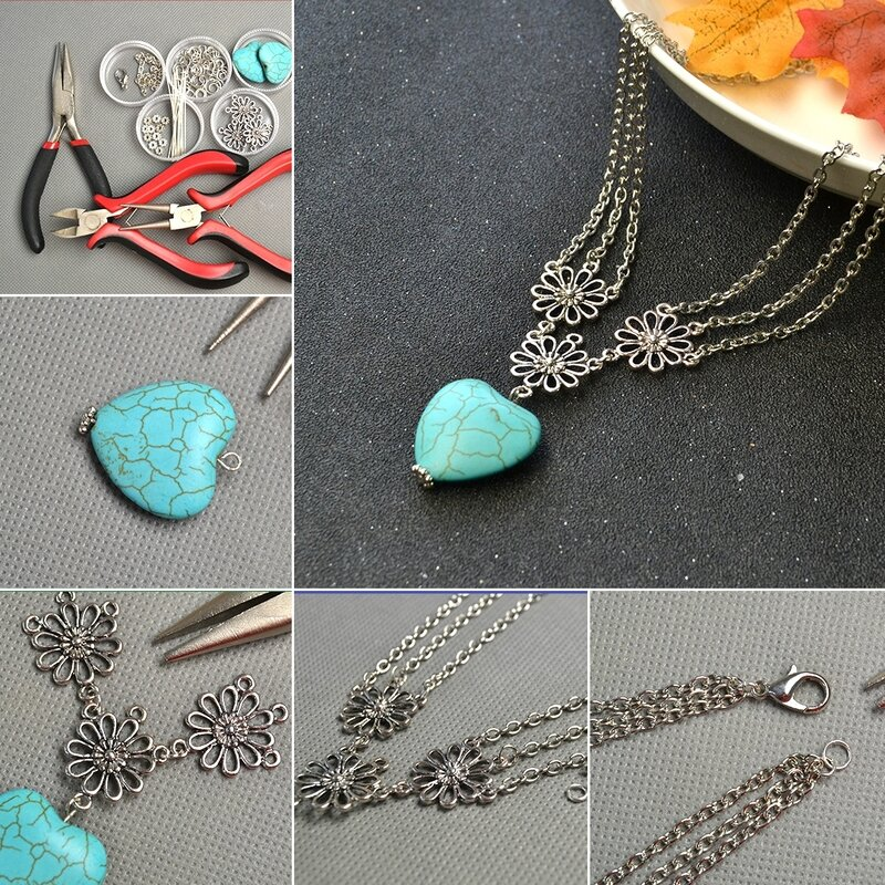 1080-Easy-Tutorials-to-Make-Turquoise-Heart-Pendant-Necklace