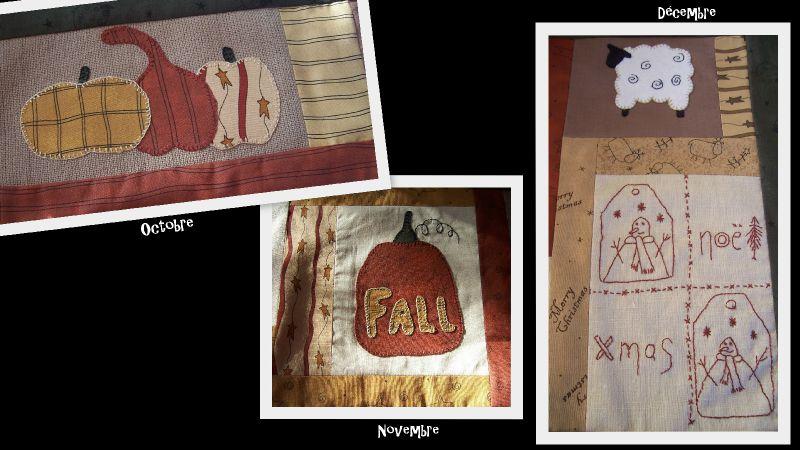 BOM Marie et son country quilt -Oct,Nov et Déc