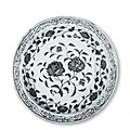 Blue-and-white dish with a stem of roses Yongle period Ardabil Shrine, National Museum of Iran, Tehran