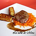 Mini-Gratins de pommes de terre rtis et tagliatelles de carottes