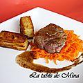Mini-gratins de pommes de terre rôtis et tagliatelles de carottes