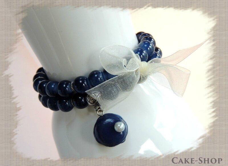 bracelet double marine & perle