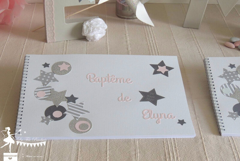 livre dor fille bapteme theme etoile rose pastel gris