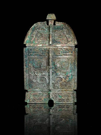 An_important_and_rare_archaic_bronze_wine_vessel_and_cover__fangyi3