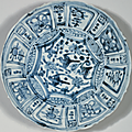 A group of four blue and white 'Kraak Porselein' dishes, Chongzhen period, circa 1643 3