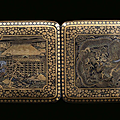 A cigarette case with 9 carats gold niello, Japan, Meiji Period (1868-1912)