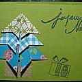 75. vert et bleu - sapin en origami et cadeau