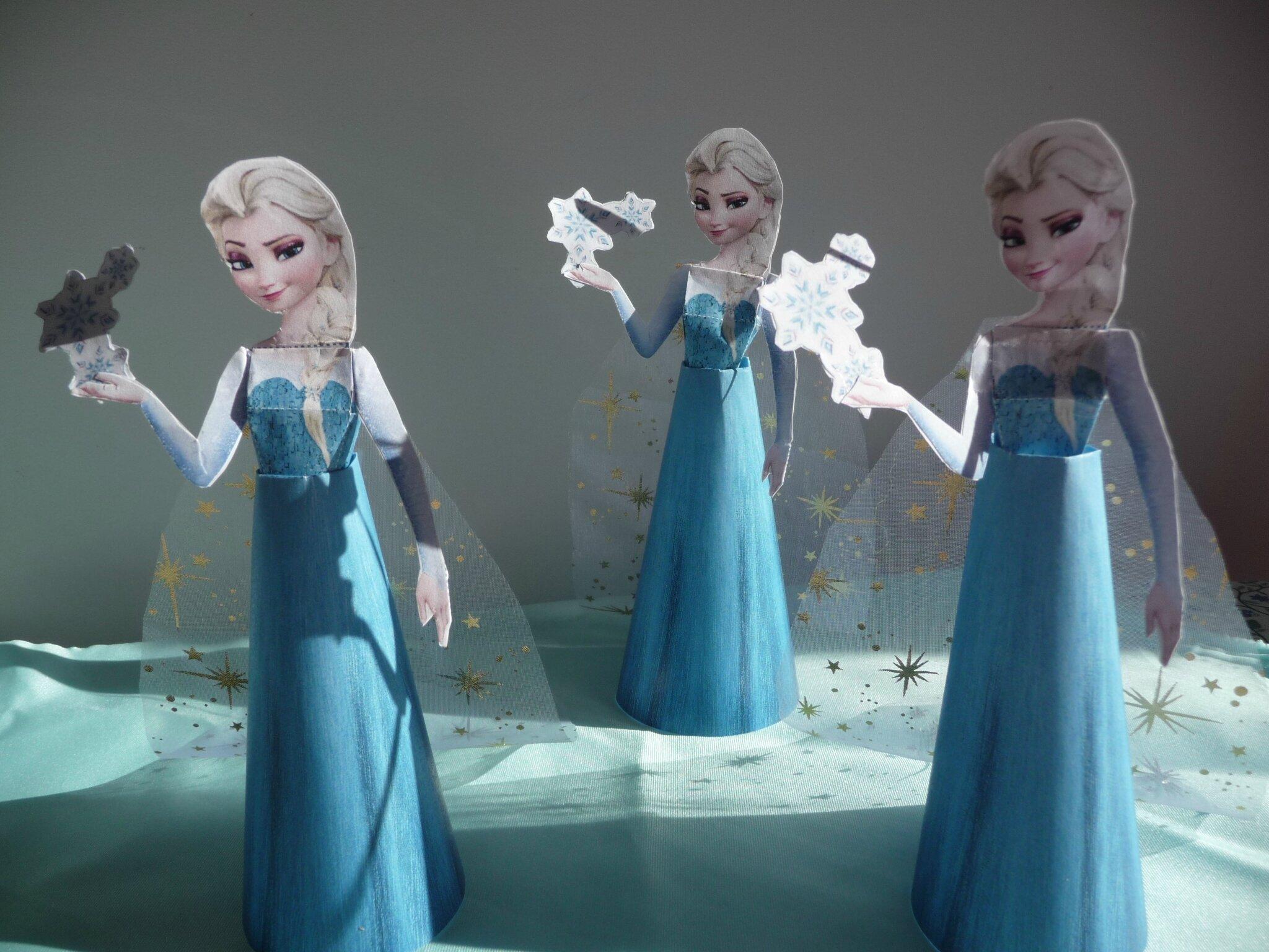 Activit enfant poup e reine des neiges en papier le blog de mademoiselle petit pois - Papier peint reine des neiges ...