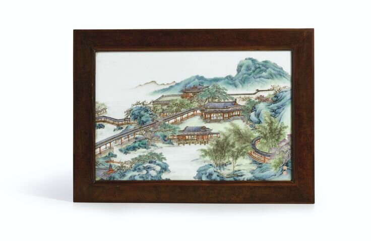 A famille-rose 'Riverscape' plaque, Late Qing Dynasty