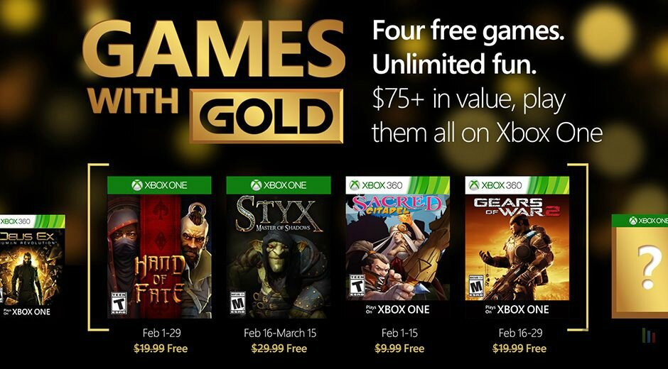 GAMES WITH GOLD FEVRIER 2016