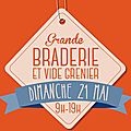 Save the date : grande braderie dimanche 21 mai 2017 !
