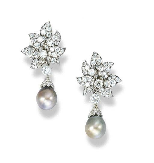 A pair of natural pearl and diamond ear pendants, by Van Cleef & Arpels