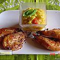Scampis grillés et risotto au safran.