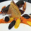 Magret de canard croute au café, carottes et tamarillo