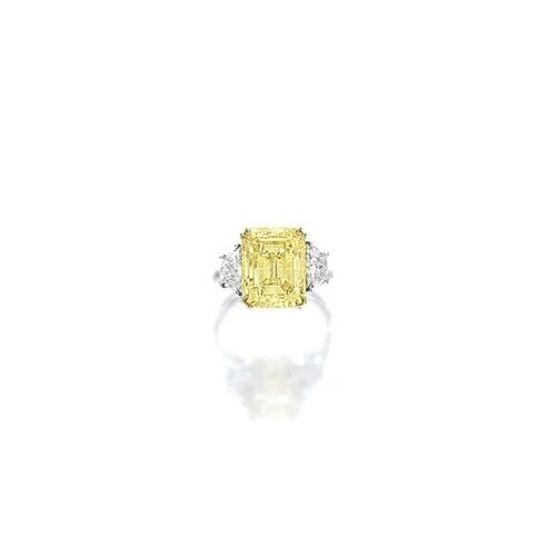 Fancy Intense Yellow Diamond and Diamond Ring