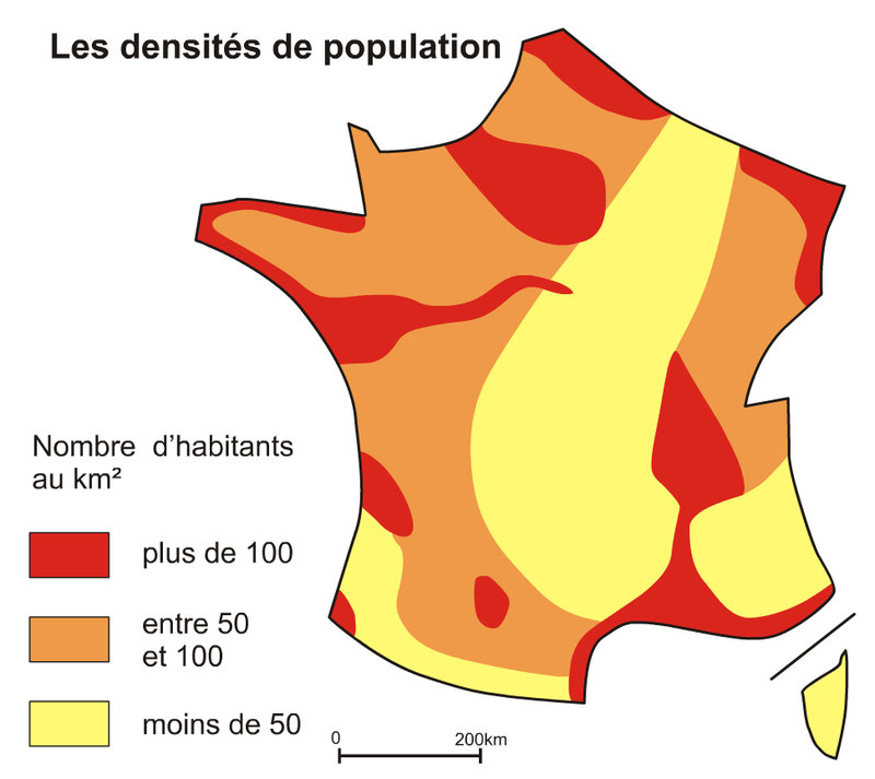 Densités de population en France