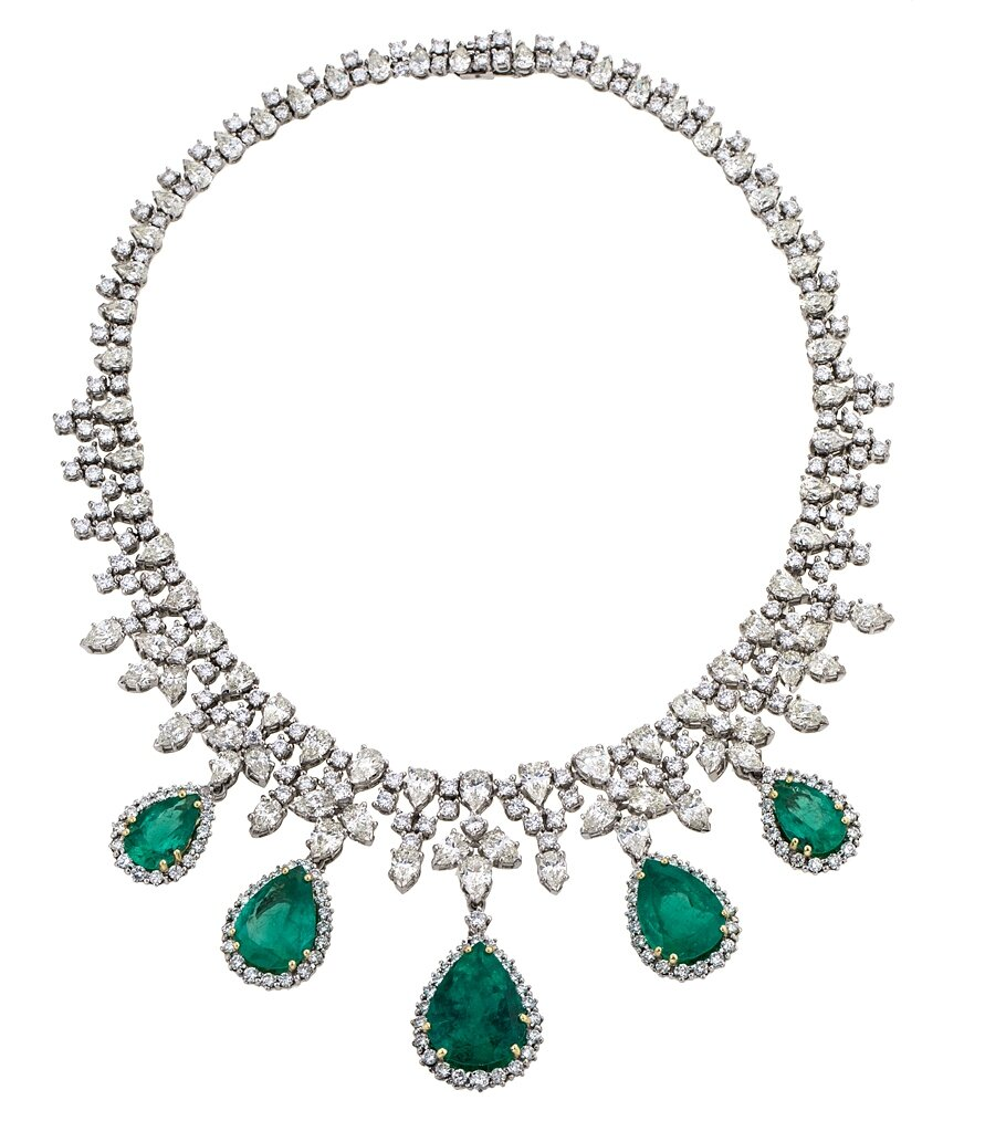 Emerald and diamond choker
