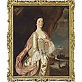 Sir joshua reynolds, portrait of mrs connock, three-quarter-length, in a white satin dress with blue ribbons, in a landscape