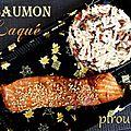 Pavés de saumon laqués à la sauce soja, au miel et au sésame