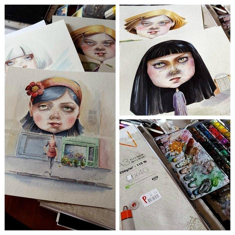 aquarelle illustration poupées filles valérie albertosi