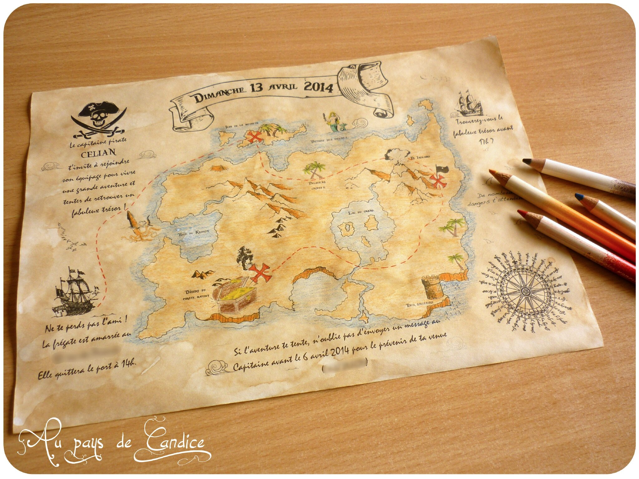 fabriquer une invitation pour une f te pirate au pays de candice. Black Bedroom Furniture Sets. Home Design Ideas