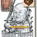 Caricature de chasseur en compagnie d'un sanglier qui rigole. cadeau d'anniversaire 80 ans