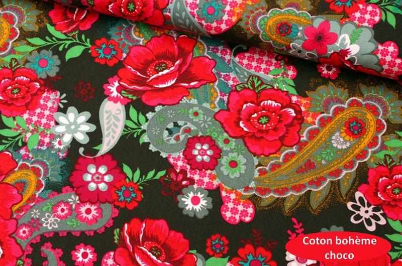 tissu fleurs boheme choco 2