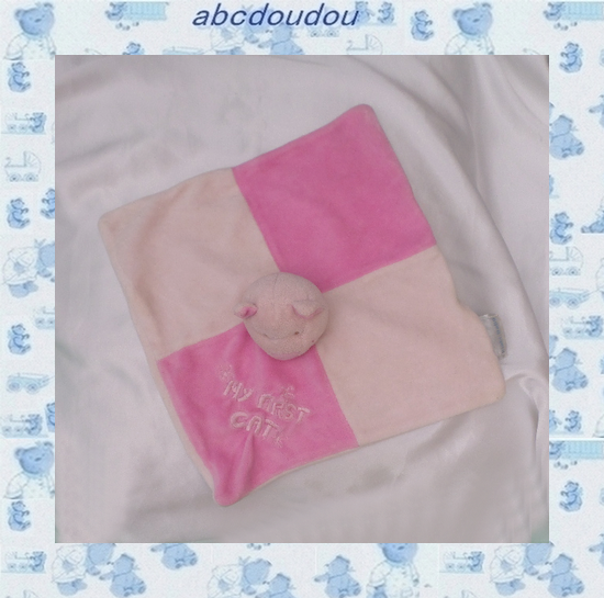 Doudou Peluche Plat Carré Chat Rose My First Cat Kiabi