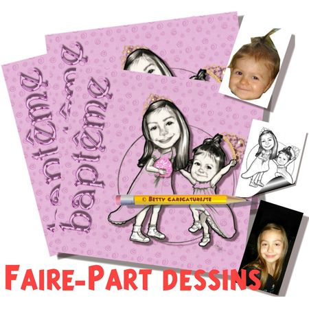 Bapteme faire-part caricature