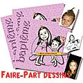 Faire-part Baptme - petite filles princesses - e-faire-part