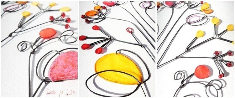 composition florale_Dame_la_Lune_fil_de_fer_fleurs_tableau