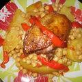 Couscous aux navets,pomme de terre,pois-chiche et poulet