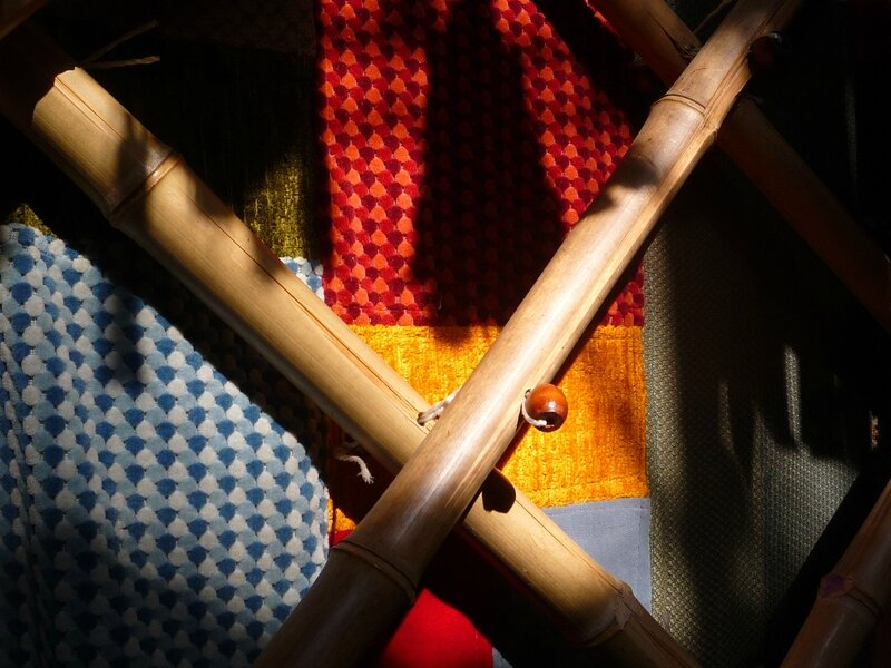 bambou avec perle de bois yurtao
