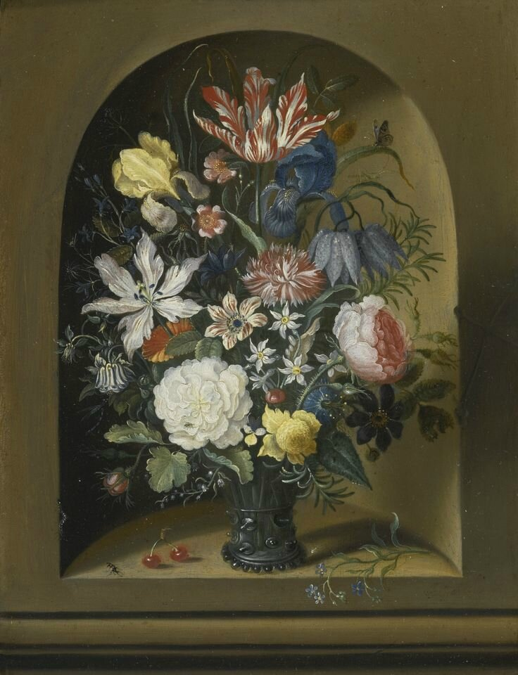 Jacob Marrel, Still life of flowers in a niche with cherries, insects and a caterpillar