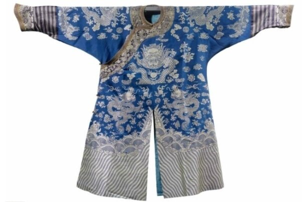 A blue-ground silk brocade nine-dragon robe, China, late Qing dynasty