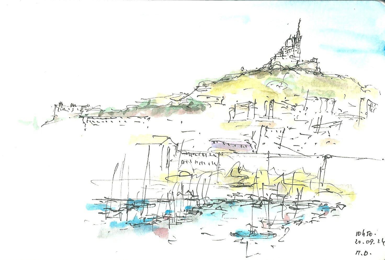 Marseille UsKF 1er coup d' oeil sur la Bonne Mère et le Vieux Port